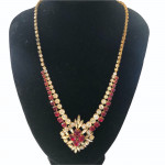 Glitzy 1940's red and clear paste necklace
