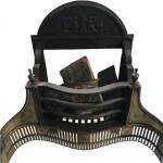 Thomas Elsley cast iron and brass Adams fire grate, cira 1890
