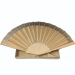 A 19th century Duvelle Roy bone, silk and lace evening fan in orignal box