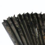 19th century ebony, silk, and lace fan. Circa 1810
