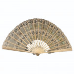 Carved bone fan with steel inlay and painted silk panel, circa 1820