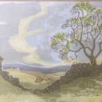 Hand-printed limited-edition 1/10 lithograph of a pastoral scene. Clive Nicholson 1984