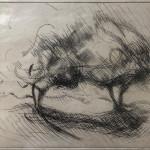 Rare Alberto Giacometti 53 Lithographic engraving pencil signed. HC to left