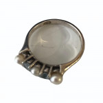 Vintage silver ring set with aquamarines and pearls