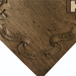 Victorian carved oak teapot stand with silver inlay, hallmarked London 1876