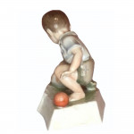 !930's Zsolnay Porcelain figurine of a boy with chicken and egg by Andras Sinko