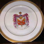 French porcelain masonic plates - handpainted with gold edges. Dated 1845 with indistinct artist's name.