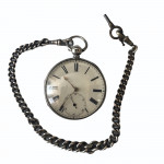 A large silver-cased fusee movement pocket watch, London 1851 with silver fob chain and stand