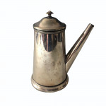 Country-house Old Sheffield plate hot chocolate pot with treen handle