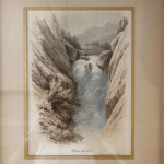 Sir William R Clayton 19th century waterfall watercolour.