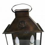 A 1940's square-form wll lantern with two light-fittings.