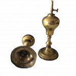 A pair of  brass French lacemaker's oil lamps, circa 1880