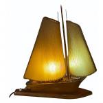1930's boat-form table walnut lamp