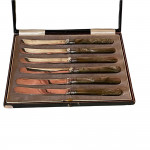 Cased set of art deco silver butter knives with Bakelite handles