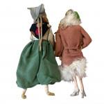 Pair of 1920's felt and silk boudoir dolls