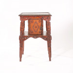 An unusual pine rectangular Tramp Art two-tier occasional table