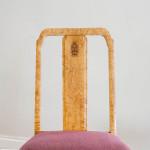 A pair of Swedish Grace solid Karelian birch side chairs