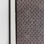 A framed Meiji hand printed washi paper wallpaper panel