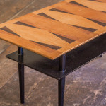 A small rectangular two-tier coffee table