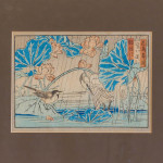 A small Meiji period Japanese coloured woodblock print