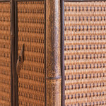 A stained bamboo and wicker etagere