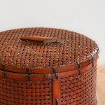 A finely made Meiji period circular lacquered canework box