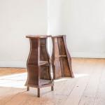 An unusual mahogany bedside cupboard