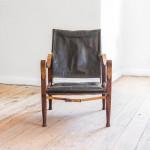 A black leather and teak 'Safari' chair by Kaare Klint (1888 - 1954)