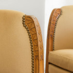 A rare pair of Art Nouveau carved sycamore tub chairs by Leon Jallot (1874 - 1967)