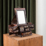 A fine padouk wood and mother-of-pearl vanity box