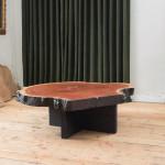 A large cross grain poplar slab coffee table