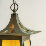 A large Arts & Crafts copper and glazed lantern
