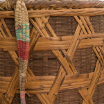 A large split cane and bamboo tea-picker's basket