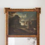 A large George II walnut and parcel gilt trumeau mirror