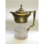ANTIQUE VICTORIAN SOLID SILVER & GLASS CLARET JUG / WINE JUG LONDON 1888