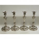 SET OF 4 ANTIQUE GERMAN SILVER CANDLESTICKS / CANDLE HOLDERS  c 1870
