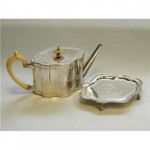 Victorian Solid Silver Teapot / Tea Pot & Stand London 1865