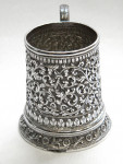 ANTIQUE INDIAN SOLID SILVER CHILD'S CHRISTENING MUG c 1880 UNMARKED POSS. CUTCH