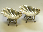 PAIR ANTIQUE SOLID SILVER GILT SHELL DISHES LONDON 1907