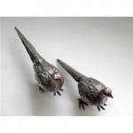 Pair Solid Silver Pheasants London 1968