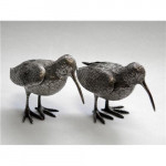 Pair Solid Silver Woodcock Birds London 1963