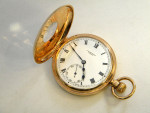 9ct GOLD & ENAMEL GENT'S POCKET WATCH BIRMINGHAM 1928 IN CASE PERFECT CONDITION
