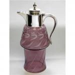 ANTIQUE ART NOUVEAU SILVER & CUT GLASS CLARET / WINE JUG BIRM. 1902