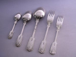 SOLID SILVER CUTLERY SET (FIDDLE THREAD & SHELL) FORKS, SPOONS SHEFFIELD 2001