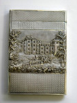 ANTIQUE VICTORIAN SILVER CASTLE TOPPED CARD CASE BIRM. 1829 WINDSOR / WARWICK