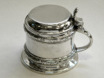 ANTIQUE VICTORIAN SOLID SILVER & GLASS LINER MUSTARD POT LONDON 1879