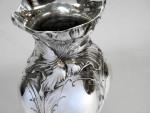 ANTIQUE AMERICAN STERLING SILVER VASE c 1880  Shiebler GRIDIRON CLUB CREST