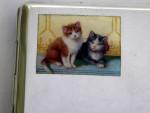 CONTINENTAL AUSTRIAN SILVER & ENAMEL CIGARETTE CASE c. 1920 (KITTENS, CATS)