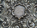 VICTORIAN SILVER CASTLE TOPPED CARD CASE BIRM. 1850 CRYSTAL PALACE