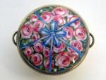 ANTIQUE SILVER & ENAMEL TRINKET BOX IMPORT MARK 1911 FLOWER BASKET